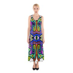Abstract Shape Doodle Thing Sleeveless Maxi Dress