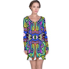 Abstract Shape Doodle Thing Long Sleeve Nightdress