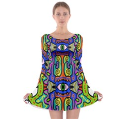 Abstract Shape Doodle Thing Long Sleeve Skater Dress