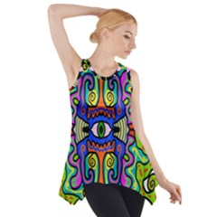 Abstract Shape Doodle Thing Side Drop Tank Tunic
