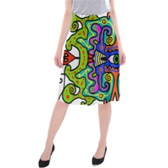 Abstract Shape Doodle Thing Midi Beach Skirt