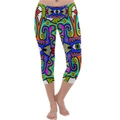 Abstract Shape Doodle Thing Capri Yoga Leggings