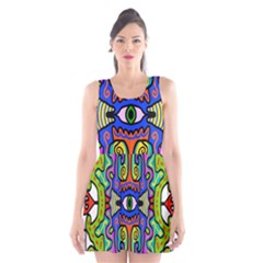 Abstract Shape Doodle Thing Scoop Neck Skater Dress