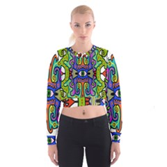 Abstract Shape Doodle Thing Women s Cropped Sweatshirt