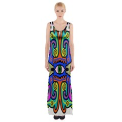 Abstract Shape Doodle Thing Maxi Thigh Split Dress