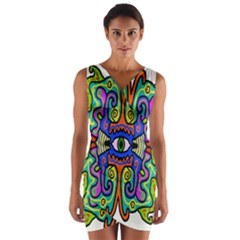 Abstract Shape Doodle Thing Wrap Front Bodycon Dress