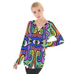 Abstract Shape Doodle Thing Women s Tie Up Tee