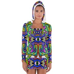Abstract Shape Doodle Thing Women s Long Sleeve Hooded T Shirt