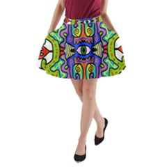 Abstract Shape Doodle Thing A Line Pocket Skirt