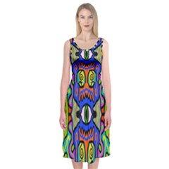 Abstract Shape Doodle Thing Midi Sleeveless Dress