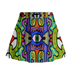 Abstract Shape Doodle Thing Mini Flare Skirt