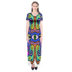 Abstract Shape Doodle Thing Short Sleeve Maxi Dress