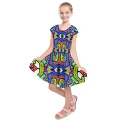 Abstract Shape Doodle Thing Kids  Short Sleeve Dress