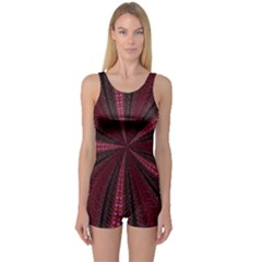 Red Ribbon Effect Newtonian Fractal One Piece Boyleg Swimsuit