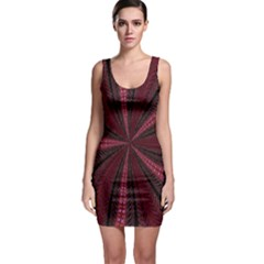 Red Ribbon Effect Newtonian Fractal Sleeveless Bodycon Dress