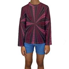 Red Ribbon Effect Newtonian Fractal Kids  Long Sleeve Swimwear
