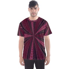 Red Ribbon Effect Newtonian Fractal Men s Sport Mesh Tee