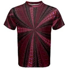 Red Ribbon Effect Newtonian Fractal Men s Cotton Tee