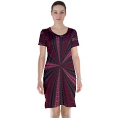 Red Ribbon Effect Newtonian Fractal Short Sleeve Nightdress
