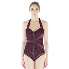 Red Ribbon Effect Newtonian Fractal Halter Swimsuit