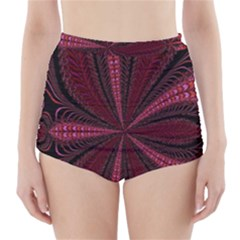 Red Ribbon Effect Newtonian Fractal High Waisted Bikini Bottoms