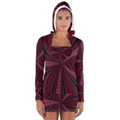Red Ribbon Effect Newtonian Fractal Women s Long Sleeve Hooded T Shirt