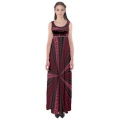 Red Ribbon Effect Newtonian Fractal Empire Waist Maxi Dress