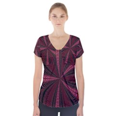 Red Ribbon Effect Newtonian Fractal Short Sleeve Front Detail Top