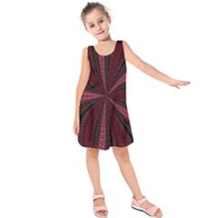 Red Ribbon Effect Newtonian Fractal Kids  Sleeveless Dress