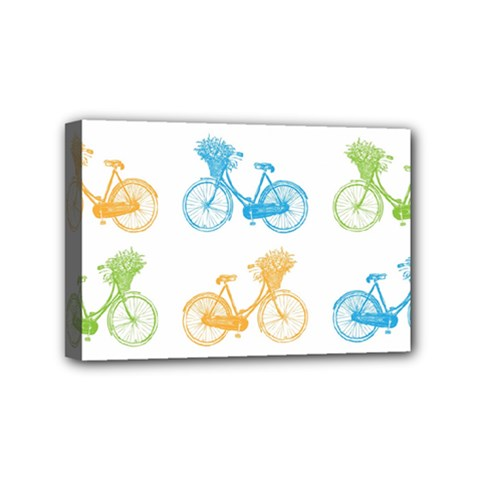 Vintage Bikes With Basket Of Flowers Colorful Wallpaper Background Illustration Mini Canvas 6  x 4