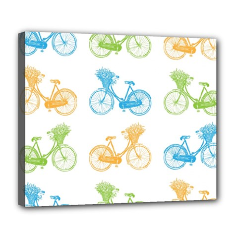 Vintage Bikes With Basket Of Flowers Colorful Wallpaper Background Illustration Deluxe Canvas 24  x 20