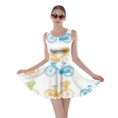 Vintage Bikes With Basket Of Flowers Colorful Wallpaper Background Illustration Skater Dress
