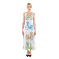 Vintage Bikes With Basket Of Flowers Colorful Wallpaper Background Illustration Sleeveless Maxi Dress
