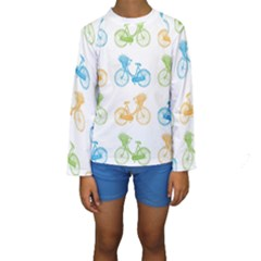 Vintage Bikes With Basket Of Flowers Colorful Wallpaper Background Illustration Kids  Long Sleeve Swimwear