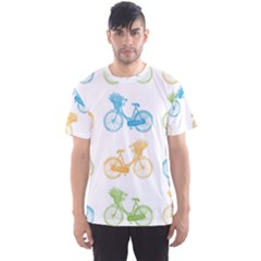 Vintage Bikes With Basket Of Flowers Colorful Wallpaper Background Illustration Men s Sport Mesh Tee