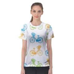 Vintage Bikes With Basket Of Flowers Colorful Wallpaper Background Illustration Women s Sport Mesh Tee