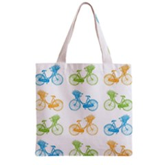 Vintage Bikes With Basket Of Flowers Colorful Wallpaper Background Illustration Grocery Tote Bag