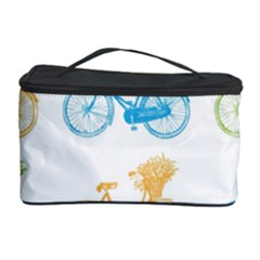 Vintage Bikes With Basket Of Flowers Colorful Wallpaper Background Illustration Cosmetic Storage Case