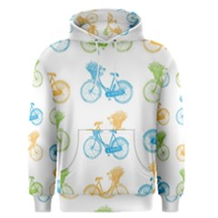 Vintage Bikes With Basket Of Flowers Colorful Wallpaper Background Illustration Men s Pullover Hoodie