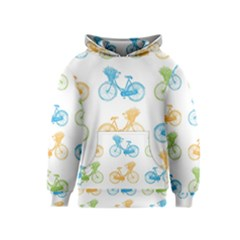 Vintage Bikes With Basket Of Flowers Colorful Wallpaper Background Illustration Kids  Pullover Hoodie