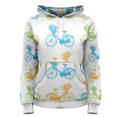 Vintage Bikes With Basket Of Flowers Colorful Wallpaper Background Illustration Women s Pullover Hoodie