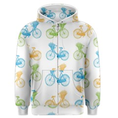Vintage Bikes With Basket Of Flowers Colorful Wallpaper Background Illustration Men s Zipper Hoodie