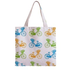 Vintage Bikes With Basket Of Flowers Colorful Wallpaper Background Illustration Zipper Grocery Tote Bag