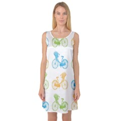 Vintage Bikes With Basket Of Flowers Colorful Wallpaper Background Illustration Sleeveless Satin Nightdress