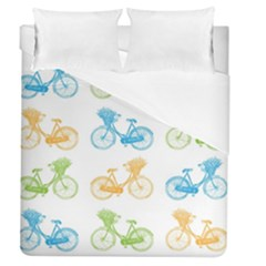 Vintage Bikes With Basket Of Flowers Colorful Wallpaper Background Illustration Duvet Cover (queen Size)