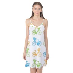 Vintage Bikes With Basket Of Flowers Colorful Wallpaper Background Illustration Camis Nightgown