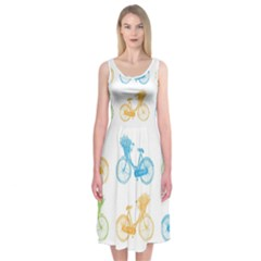 Vintage Bikes With Basket Of Flowers Colorful Wallpaper Background Illustration Midi Sleeveless Dress