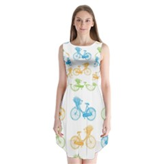 Vintage Bikes With Basket Of Flowers Colorful Wallpaper Background Illustration Sleeveless Chiffon Dress
