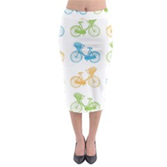 Vintage Bikes With Basket Of Flowers Colorful Wallpaper Background Illustration Midi Pencil Skirt