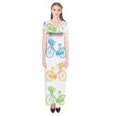 Vintage Bikes With Basket Of Flowers Colorful Wallpaper Background Illustration Short Sleeve Maxi Dress